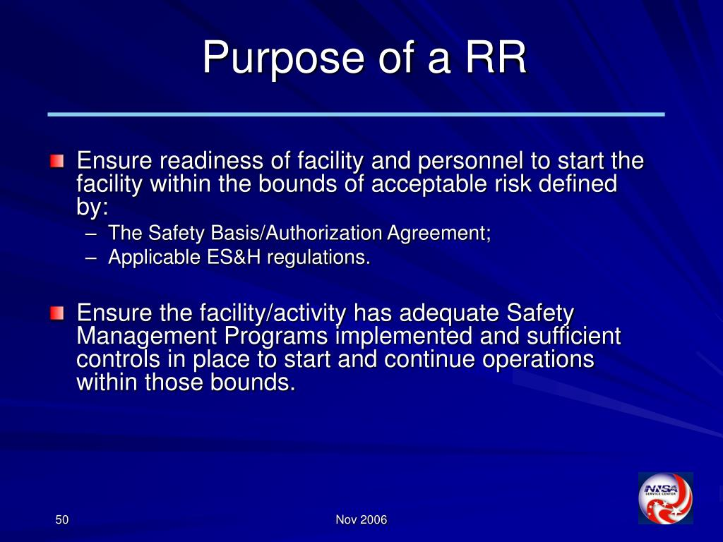 Purpose of a RR
