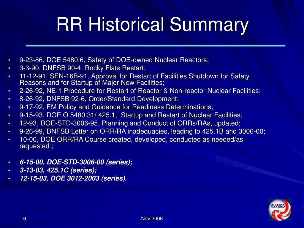 RR Historical Summary