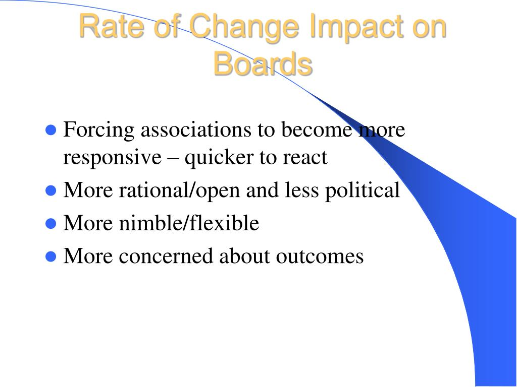 Rate of Change Impact on Boards
