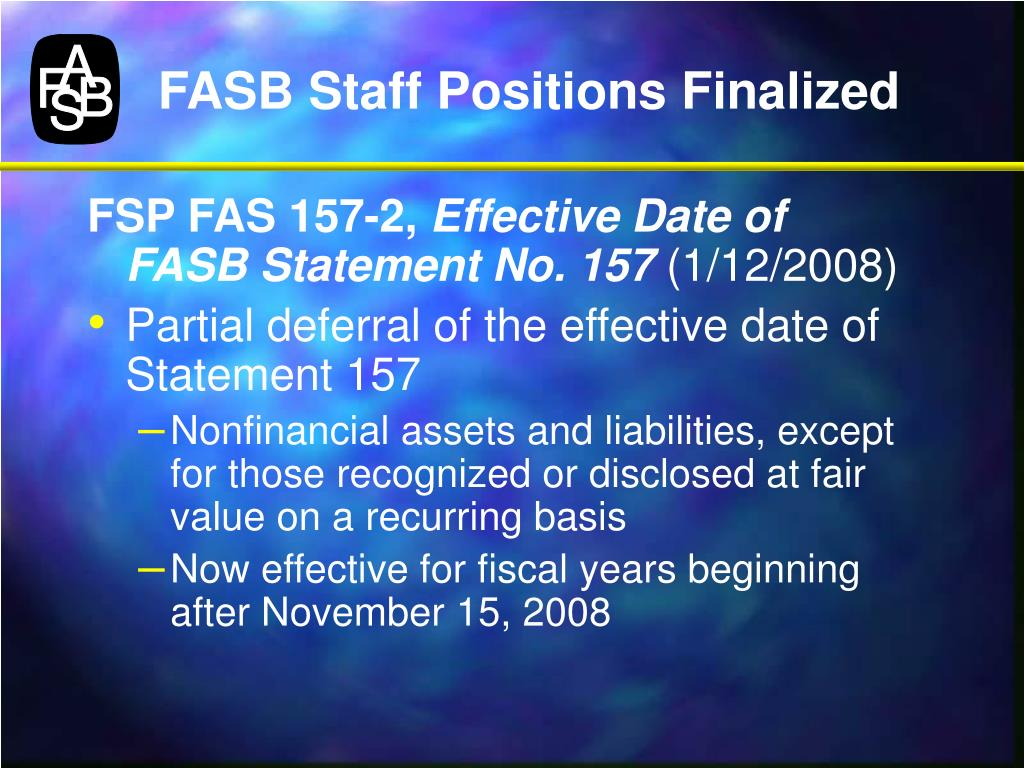 FASB Staff Positions Finalized