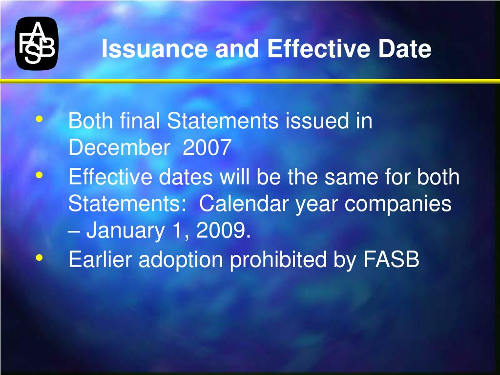 Issuance and Effective Date