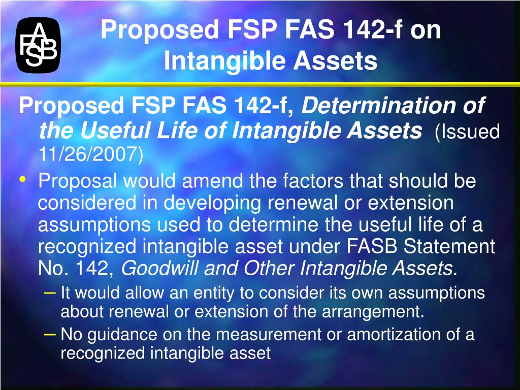 Proposed FSP FAS 142-f on Intangible Assets