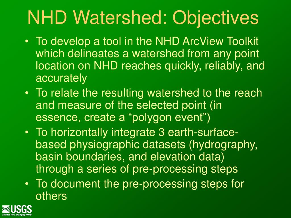NHD Watershed: Objectives