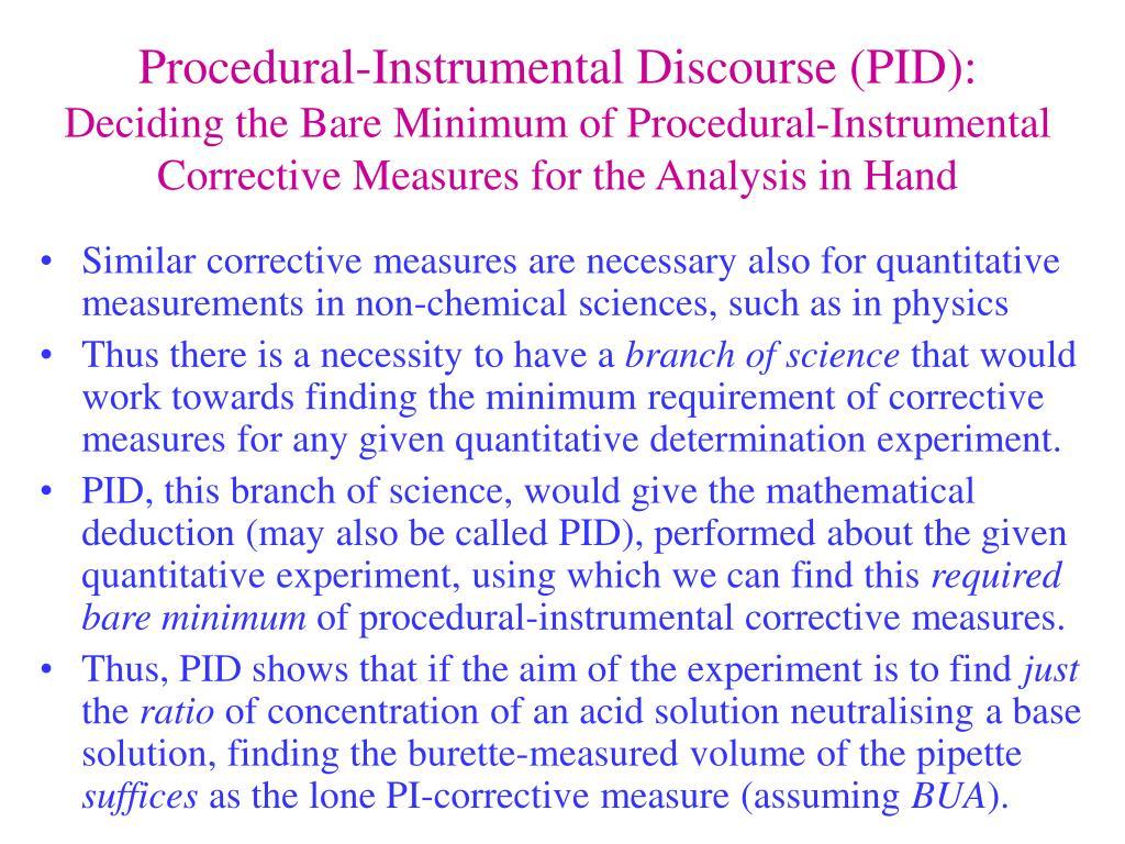Procedural-Instrumental Discourse (PID):