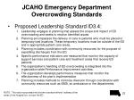 jcaho emergency department overcrowding standards