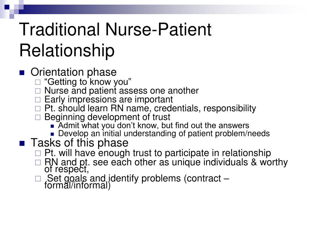 Traditional Nurse-Patient Relationship