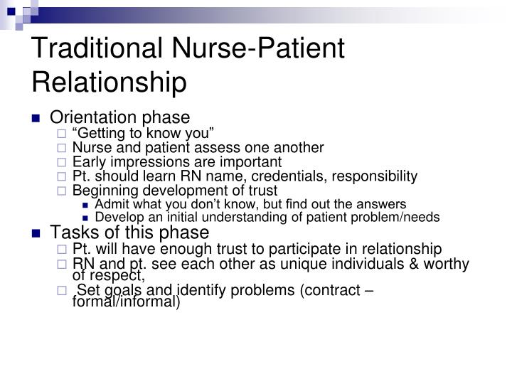 Traditional nurse patient relationship