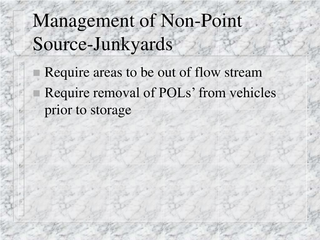 Management of Non-Point Source-Junkyards