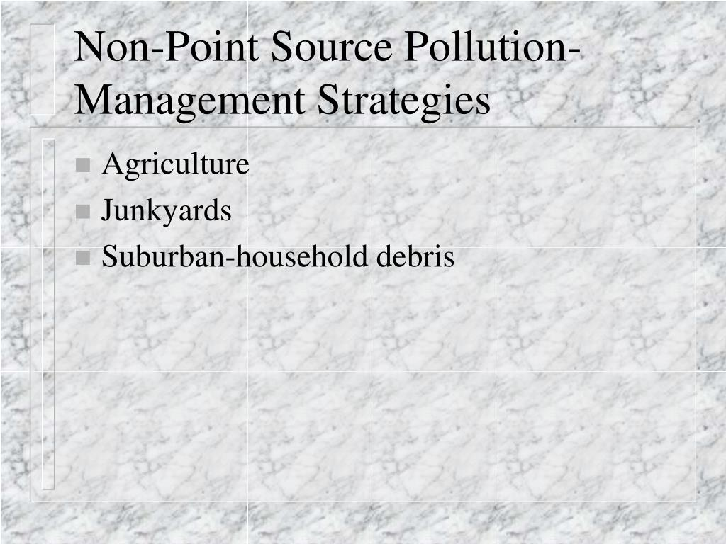 Non-Point Source Pollution-Management Strategies