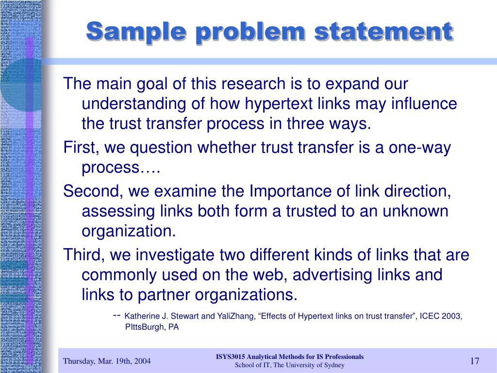 Sample problem statement