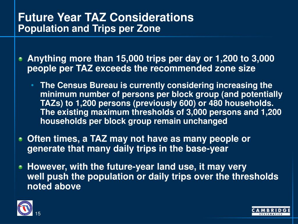 Future Year TAZ Considerations
