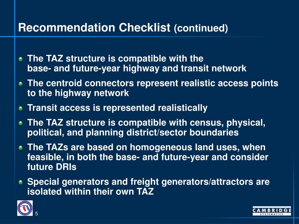 Recommendation Checklist