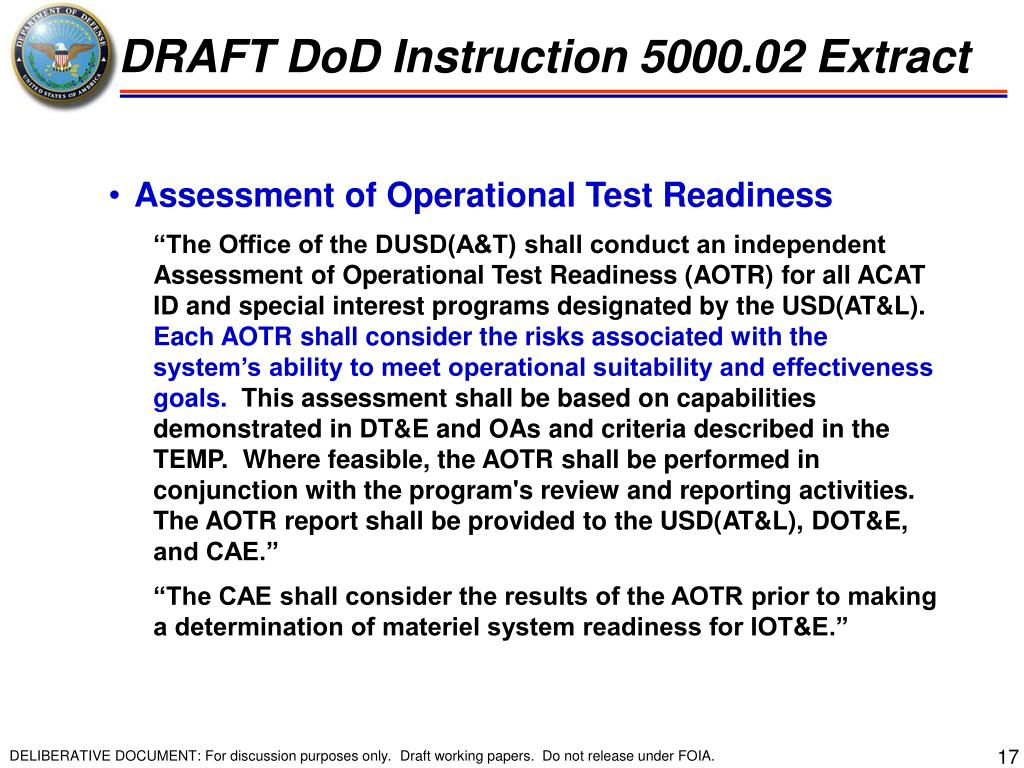 DRAFT DoD Instruction 5000.02 Extract