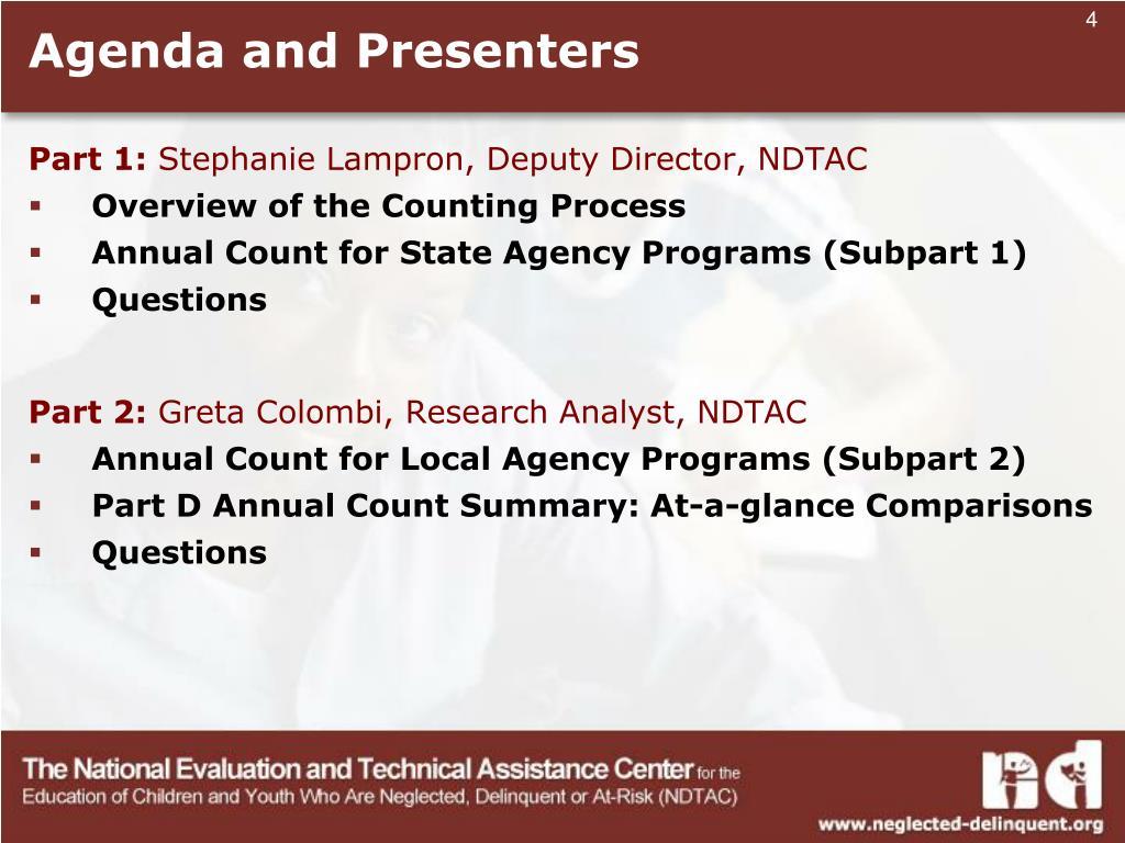 Agenda and Presenters