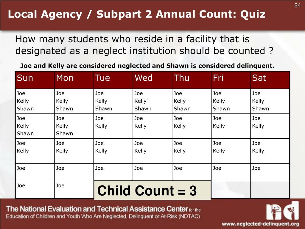Local Agency / Subpart 2 Annual Count: Quiz
