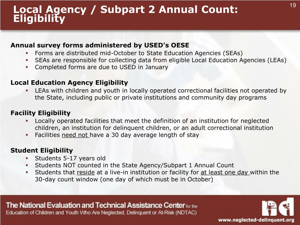 Local Agency / Subpart 2 Annual Count:
