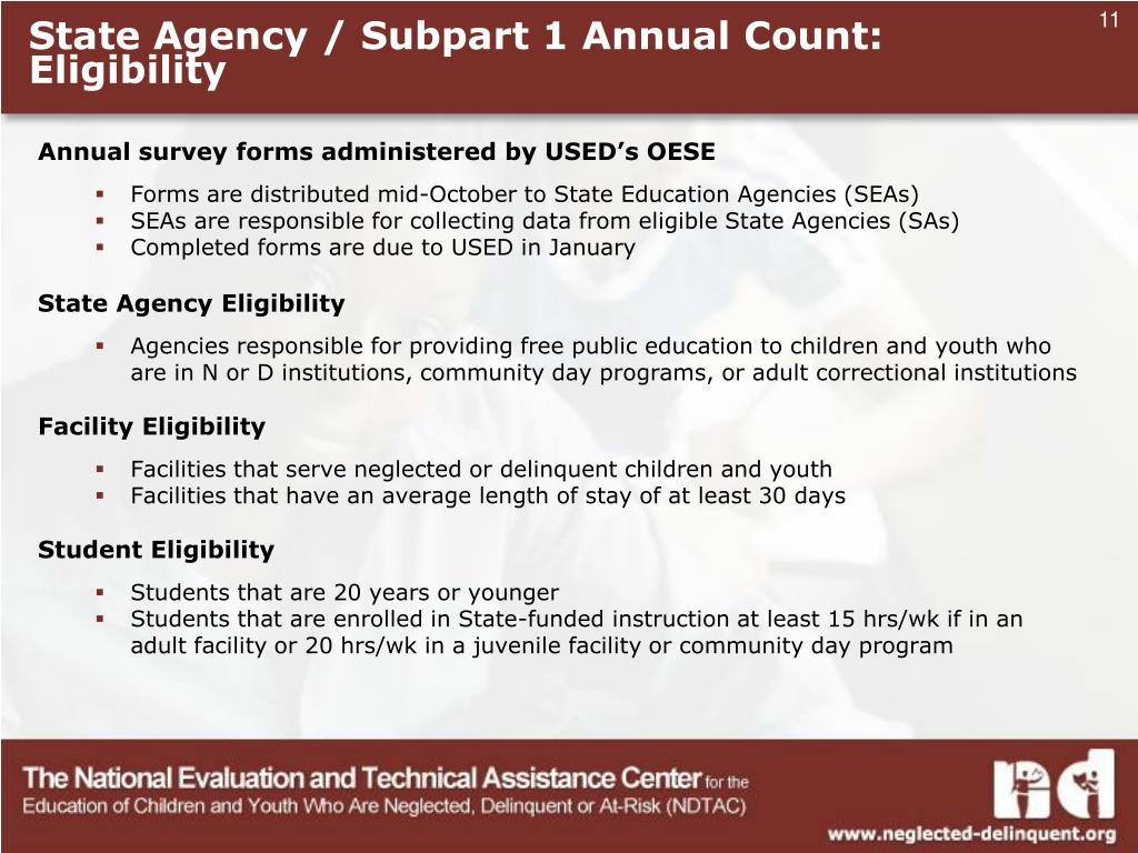 State Agency / Subpart 1 Annual Count: