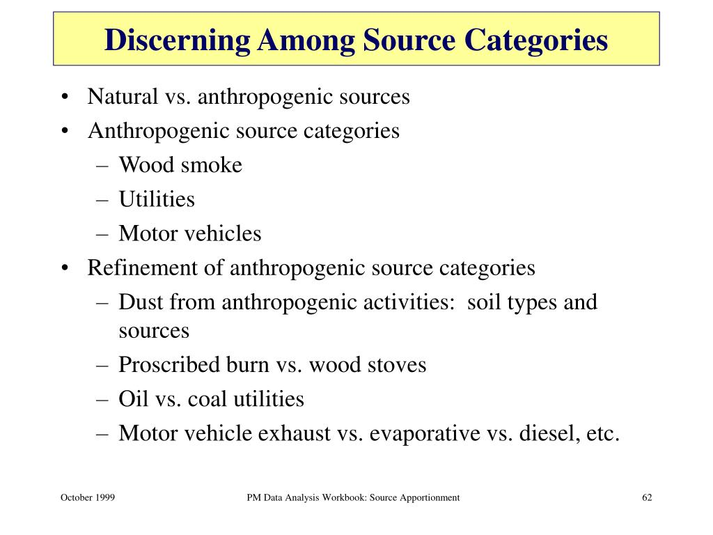 Discerning Among Source Categories