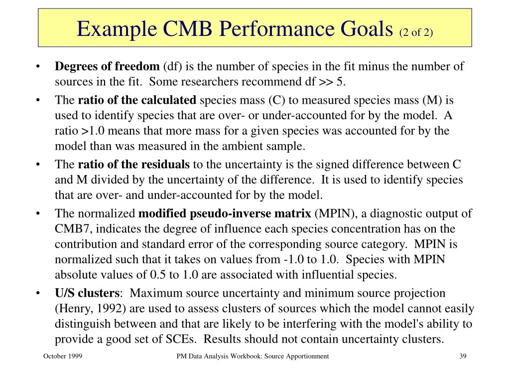 Example CMB Performance Goals