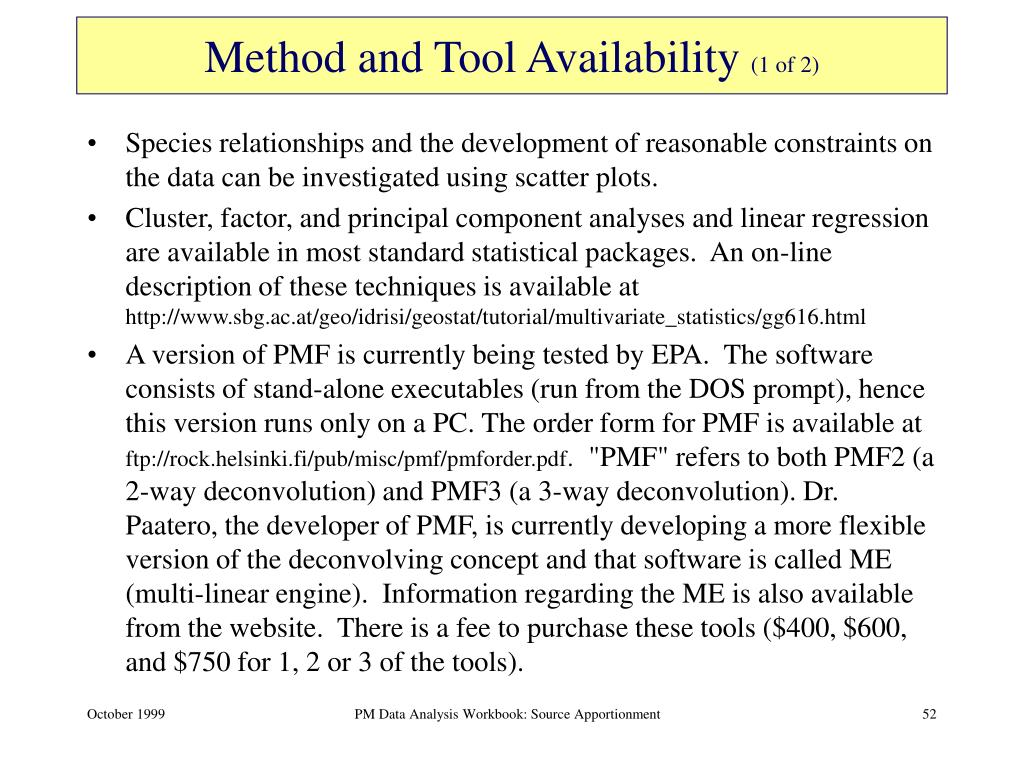 Method and Tool Availability
