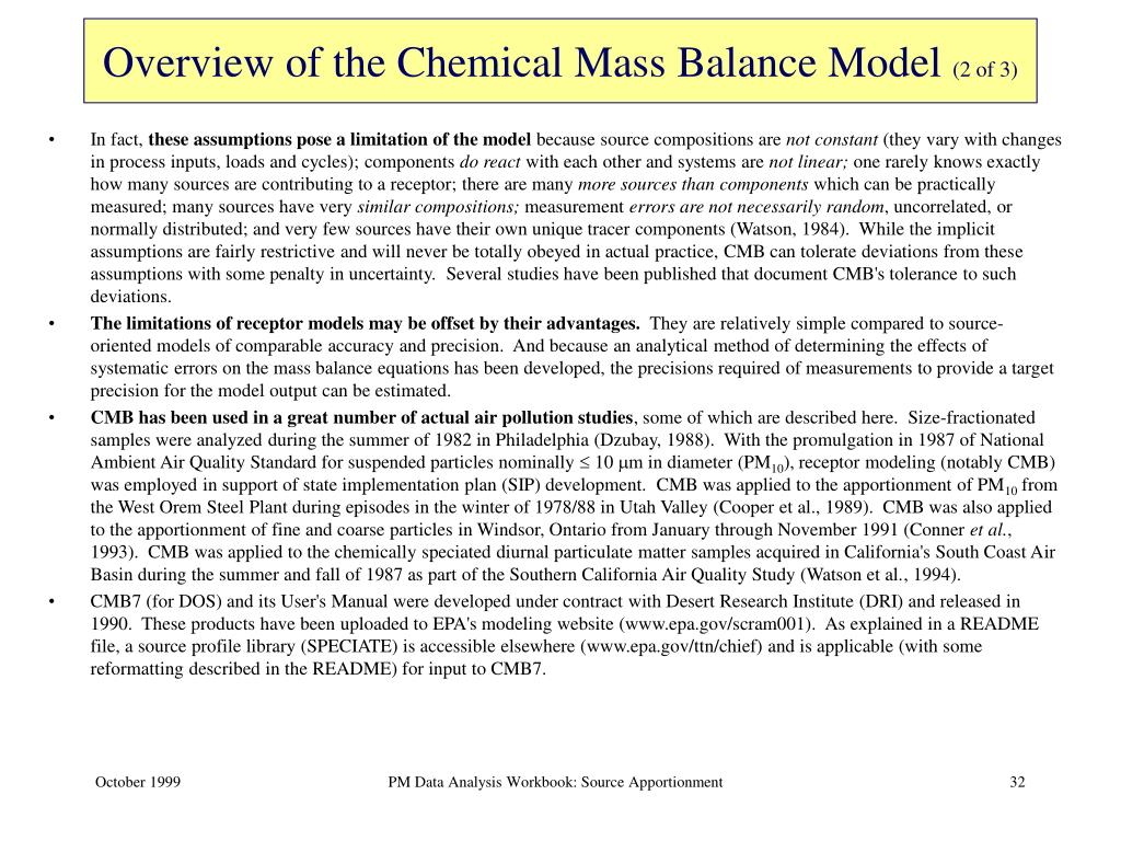 Overview of the Chemical Mass Balance Model
