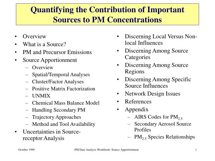 Quantifying the contribution of important sources to pm concentrations