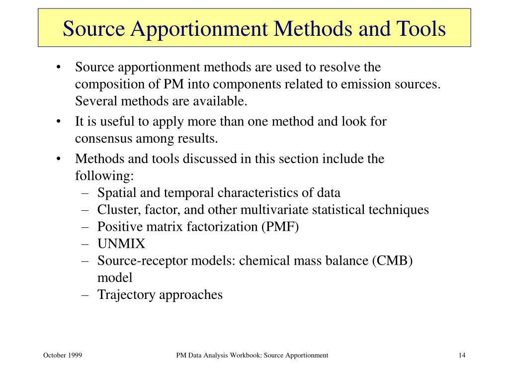Source Apportionment Methods and Tools