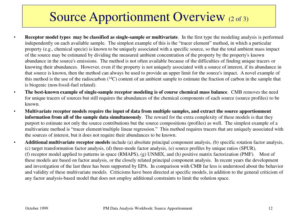 Source Apportionment Overview