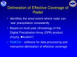 delineation of effective coverage of radar