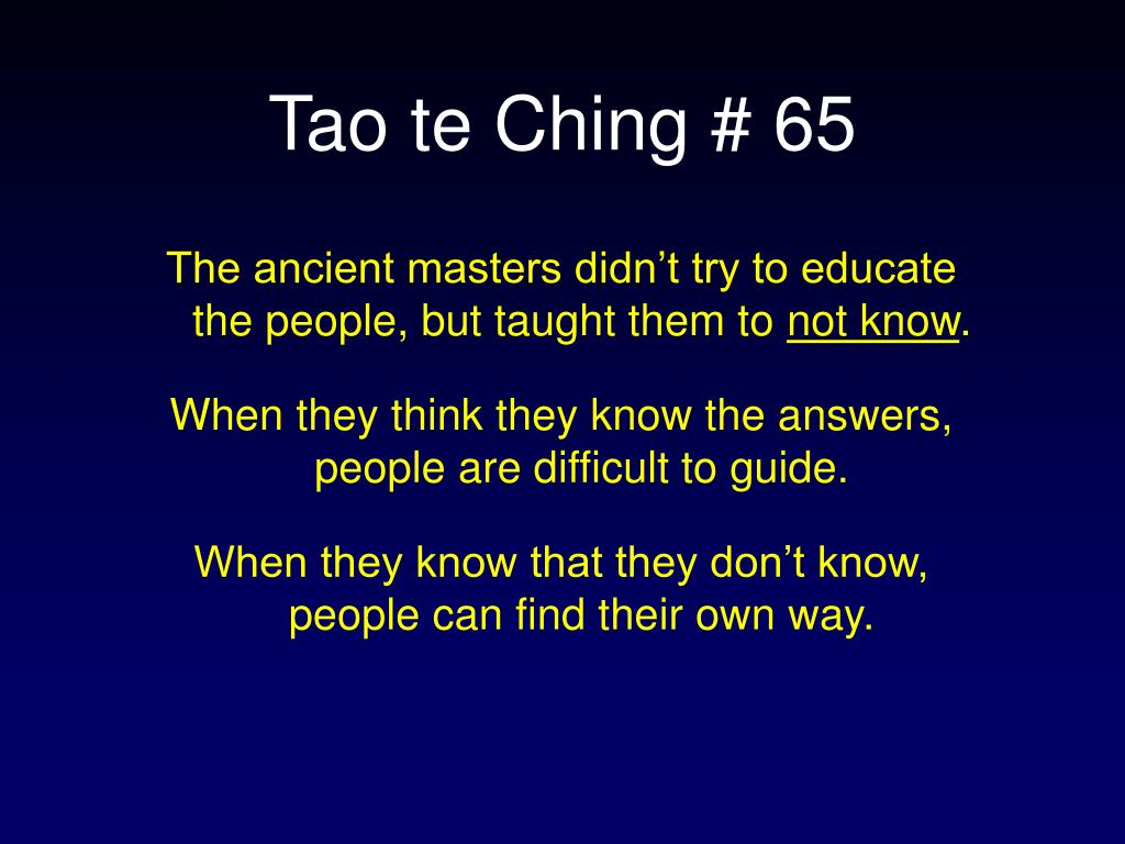 Tao te Ching # 65
