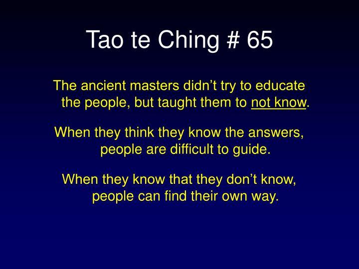Tao te ching 65