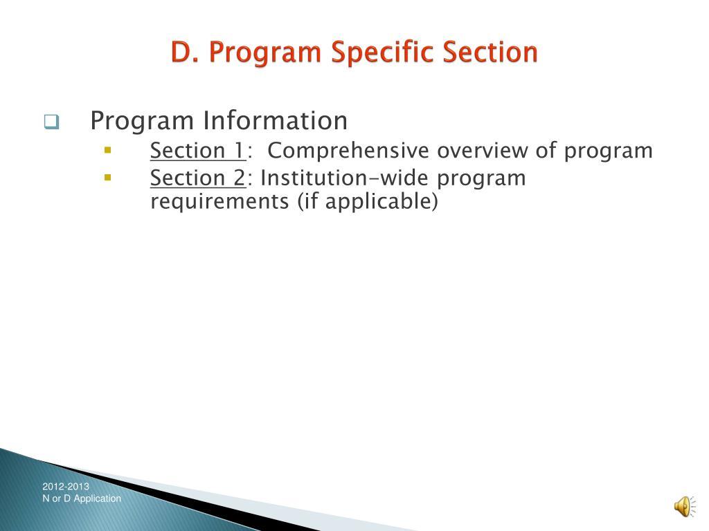 D. Program Specific Section