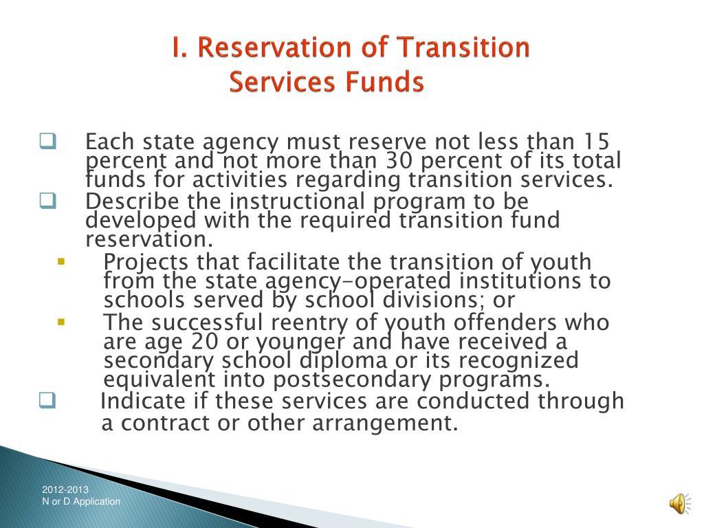 I. Reservation of Transition