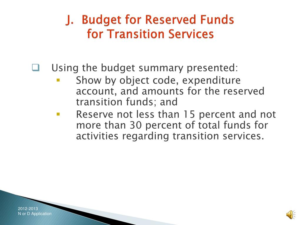 J.  Budget for Reserved Funds