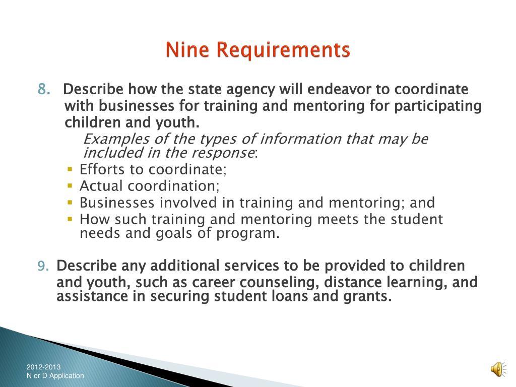Nine Requirements