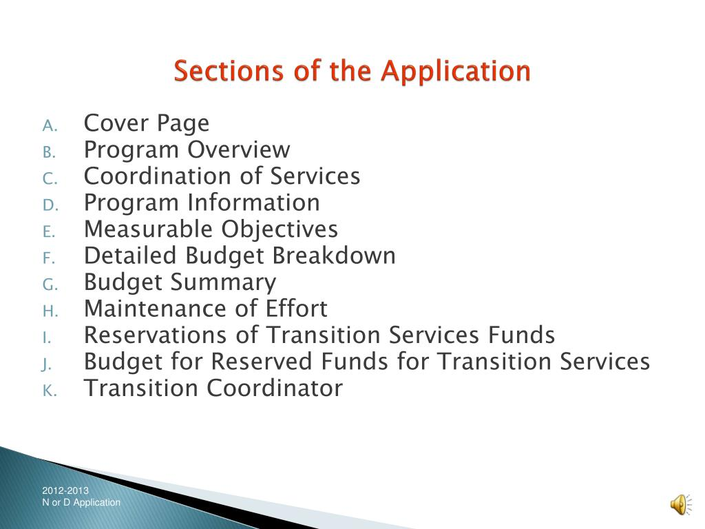 Sections of the Application