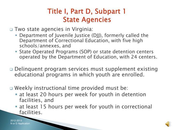Title i part d subpart 1 state agencies3