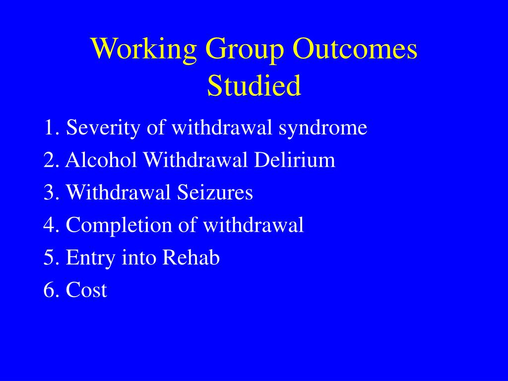 Working Group Outcomes Studied