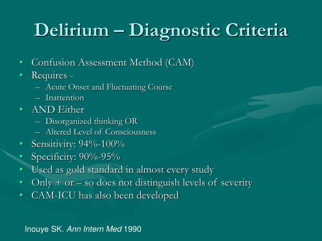 Delirium – Diagnostic Criteria