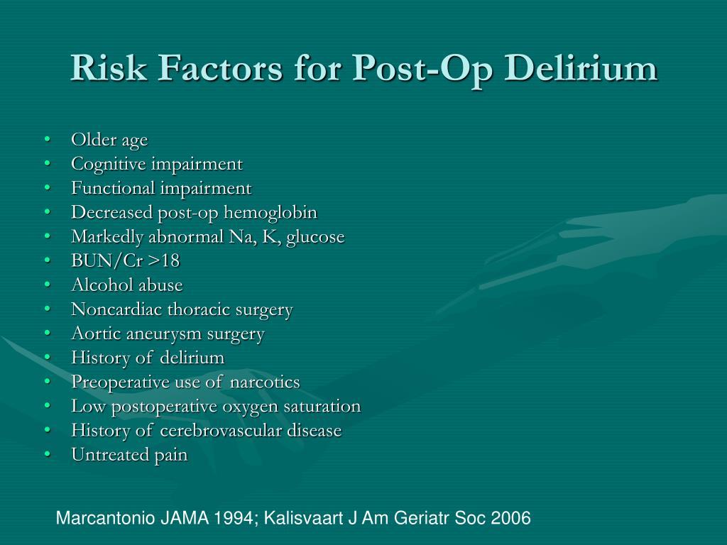 Risk Factors for Post-Op Delirium