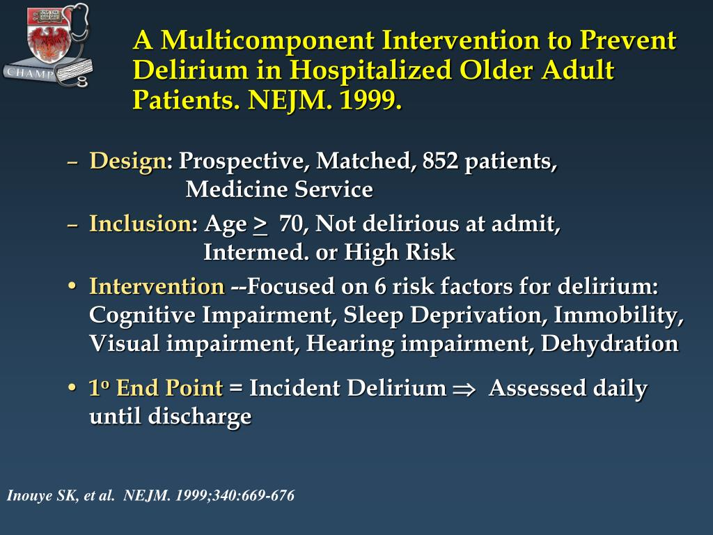 A Multicomponent Intervention to Prevent Delirium in Hospitalized Older Adult Patients. NEJM. 1999.