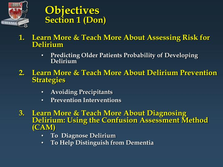 Objectives section 1 don