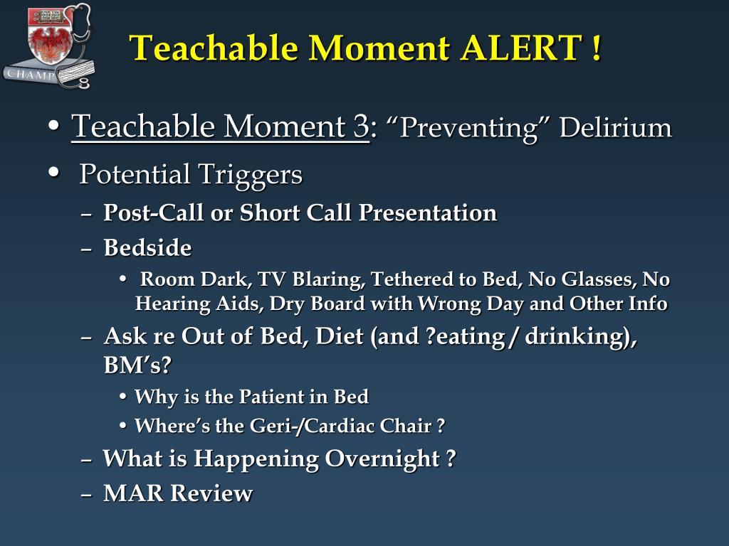 Teachable Moment ALERT !