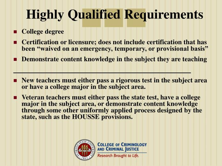 Highly qualified requirements