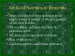 artificial nutrition in dementia