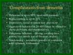 complications from dementia