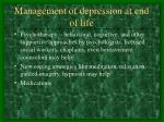 management of depression at end of life