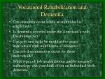 vocational rehabilitation and dementia