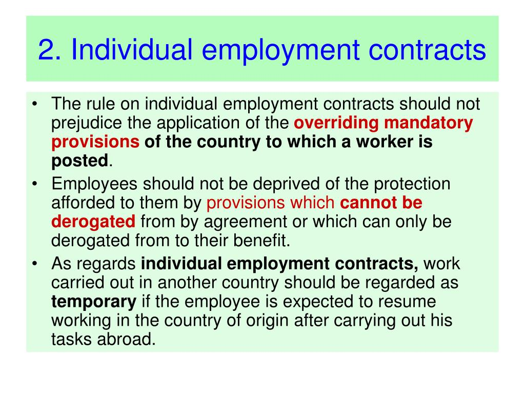 2. Individual employment contracts