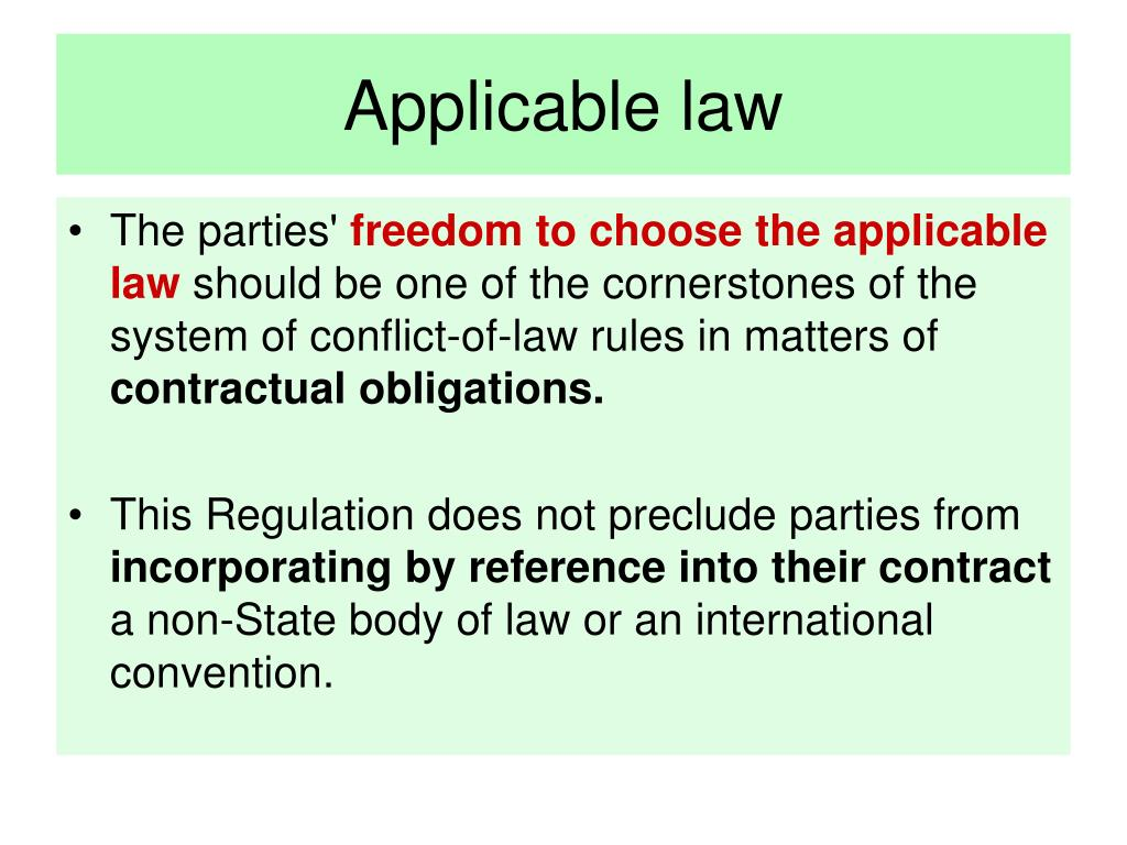 Applicable law